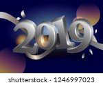 new year's card with silver... | Shutterstock .eps vector #1246997023