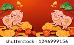 2019 chinese lunar new year... | Shutterstock .eps vector #1246999156