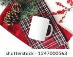 winter still life. blank coffee ... | Shutterstock . vector #1247000563