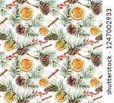 watercolor winter pattern with... | Shutterstock . vector #1247002933