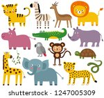 african animals  vector set ... | Shutterstock .eps vector #1247005309