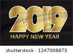 happy new year 2019  | Shutterstock .eps vector #1247008873