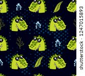 cute kids crocodile pattern for ... | Shutterstock .eps vector #1247015893