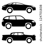 vector. 3 icons. cars. | Shutterstock .eps vector #124701838