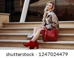outdoor fashion portrait of... | Shutterstock . vector #1247024479