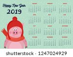 year 2019 monthly calendar with ... | Shutterstock .eps vector #1247024929