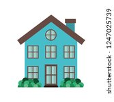 house with garden isolated icon | Shutterstock .eps vector #1247025739