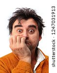 face of a disheveled man who is ...   Shutterstock . vector #1247031913