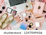 fashion blogger workspace with...   Shutterstock . vector #1247049436