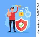 man character holding key.... | Shutterstock .eps vector #1247061343