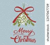 mistletoe branch and snowflakes.... | Shutterstock .eps vector #1247067739