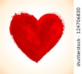 hand drawn painted red heart ... | Shutterstock .eps vector #124706830
