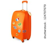 orange travelling baggage... | Shutterstock .eps vector #124707070