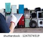 women work in recycling garbage ... | Shutterstock . vector #1247074519