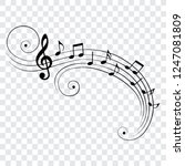 music notes on staves with... | Shutterstock .eps vector #1247081809