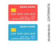 credit cards set. blue and red... | Shutterstock .eps vector #1247090476