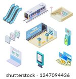 isometric metro elements.... | Shutterstock .eps vector #1247094436