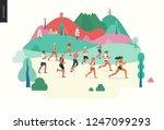 marathon race group   flat... | Shutterstock .eps vector #1247099293