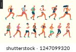 marathon race group   flat... | Shutterstock .eps vector #1247099320