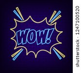 wow neon sign. bright neon... | Shutterstock .eps vector #1247100520