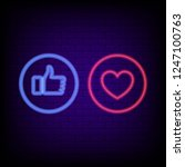 like and heart neon sign.... | Shutterstock .eps vector #1247100763