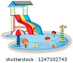 children at isolated water park ... | Shutterstock .eps vector #1247102743