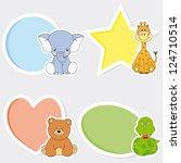 vector set of animal stickers. | Shutterstock .eps vector #124710514
