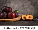 delicious red plums in a cork... | Shutterstock . vector #1247109580