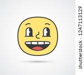 happy smile emoji with big eyes.... | Shutterstock .eps vector #1247113129