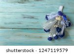 christmas fairy on a blue old... | Shutterstock . vector #1247119579