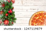 christmas pizza concept on... | Shutterstock . vector #1247119879
