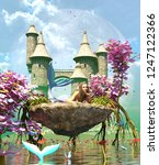 3d fantasy mermaid in mythical... | Shutterstock . vector #1247122366