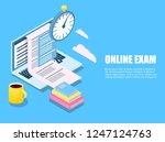 flat exam isometric online.... | Shutterstock .eps vector #1247124763