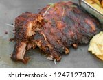 smoke grilled pork ribs bbq | Shutterstock . vector #1247127373