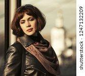 sad beautiful fashion woman on... | Shutterstock . vector #1247132209