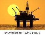 image of oil platform during... | Shutterstock . vector #124714078