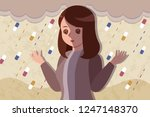 upset and depressed woman with... | Shutterstock .eps vector #1247148370