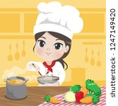 chef girl is cooking with a...   Shutterstock .eps vector #1247149420