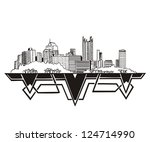 Pittsburgh, PA Skyline. Black and white vector illustration EPS 8.