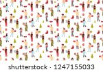 mix race people holding gift... | Shutterstock .eps vector #1247155033