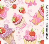 Seamless Pattern With Cupcakes  ...