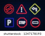 road signs neon. road signs... | Shutterstock .eps vector #1247178193