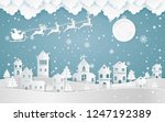 santa claus driving in a sledge ... | Shutterstock .eps vector #1247192389