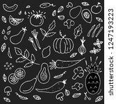 doodle vegetable pattern. white ...   Shutterstock .eps vector #1247193223