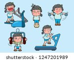 5 girl characters in lively... | Shutterstock .eps vector #1247201989