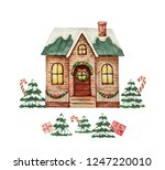 watercolor greeting card with... | Shutterstock . vector #1247220010