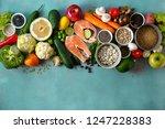top view set healthy food for... | Shutterstock . vector #1247228383