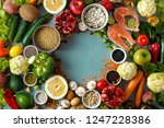 top view frame of healthy and... | Shutterstock . vector #1247228386