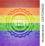 brunette emblem on mosaic... | Shutterstock .eps vector #1247234020