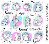 hand drawn vector unicorn... | Shutterstock .eps vector #1247244553